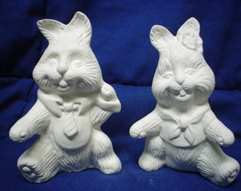 """Ceramic Bisque 4.5"""" Mr. and Mrs. Easter Bunny Rabbit - Ready to Paint - C073"""