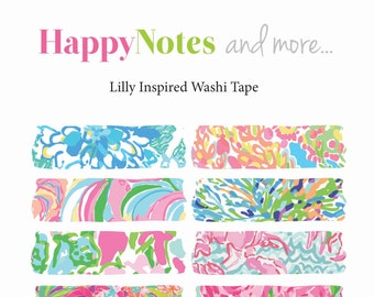 Washi Tape - Lilly Pulitzer Print Inspired Digital Washi Tape - Instant Download Clip Art