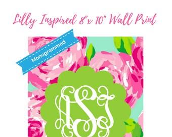 "Lilly Pulitzer Print Inspired Monogrammed Printable Wall Print 8""x10"" Printable Wall Art - Lilly Printables Dorm Print Decor"