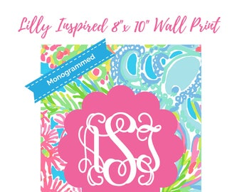 "Lilly Pulitzer Print Inspired Monogrammed Printable Wall Print 8""x10"" Printable Wall Art - Lilly Printables Dorm Print Decor"