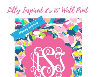 "Monogrammed Lilly Pulitzer Print Inspired Printable Wall Print 8""x10"" Printable Wall Art - Lilly Printables Dorm Print Decor"