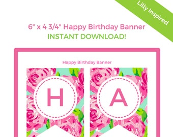 Lilly Pulitzer Print Happy Birthday Banner - Lilly Inspired Printable Happy Birthday Hanging Flag Banner - INSTANT DOWNLOAD