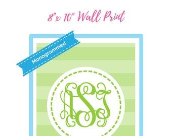 "Monogrammed Print Inspired Printable Wall Print 8""x10"" Printable Wall Art - Printables Dorm Print Decor"