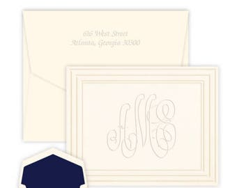 Classic Frame Embossed Note - personalized - monogrammed note card