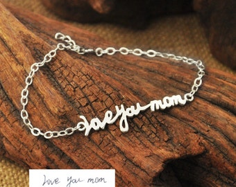 Memorial Signature,Personalized Signature Bracelet,Signature Jewelry,Handwritten Bracelet,Handwriting bracelet, Mothers Day Gift