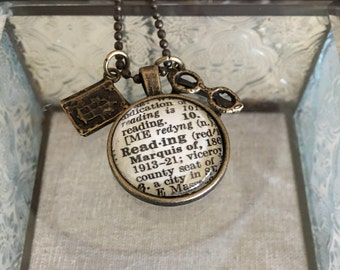 Reading Dictionary Charm Necklace. Gift for Reader. Gift for Writer.