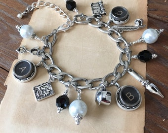 The Deadline. Vintage Typewriter Key Charm Bracelet. Gift for Writers.