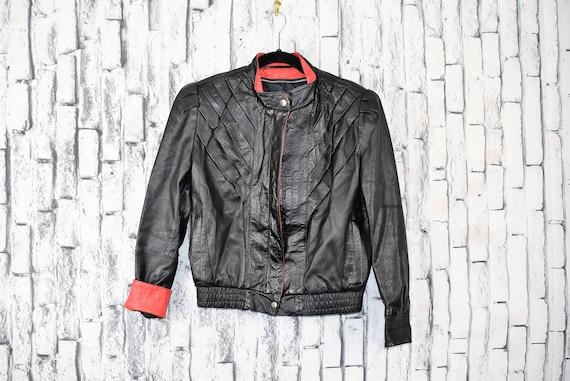 Vintage 1980s Black & Red Slasher 100% Leather Mot