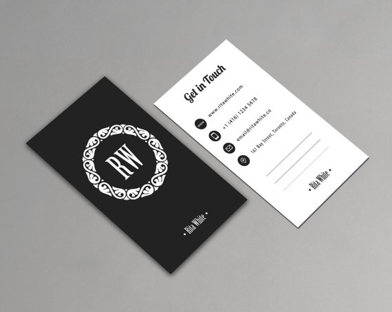 Vertical business card template printable minimalist etsy image 0 wajeb