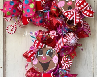 Christmas wreath, candy cane wreath, gingerbread wreath, deco mesh wreath, candy wreath