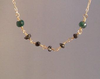 f231752c1 Emerald diamond necklace, raw diamond, gold, black diamonds, emerald, rough  cut, green, birthstone, April, May, minimalist, emerald green