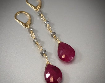 Ruby Drop Earrings, genuine ruby, gold, red, ruby red, long, labradorite, wire wrapped, teardrop, July birthstone, natural, faceted