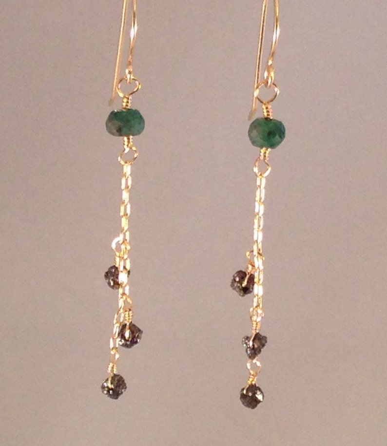 d983b3c17 Emerald diamond earrings raw diamond gold black diamonds | Etsy