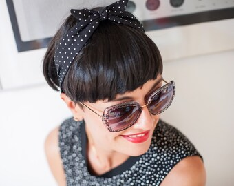 Retro style black polka dots bow hair band.