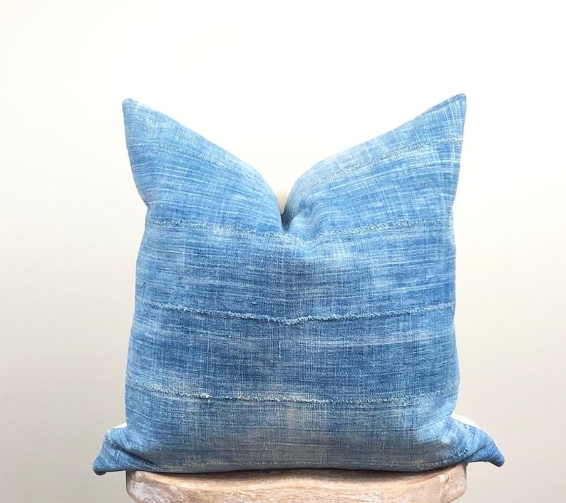 Faded Indigo Mudcloth Pillow Cover for