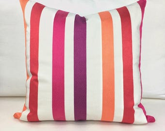Striped Pillow Cover Vibrant Covers 20x20 Pillows Decorative Cushion Pink Pillow Ready to Ship