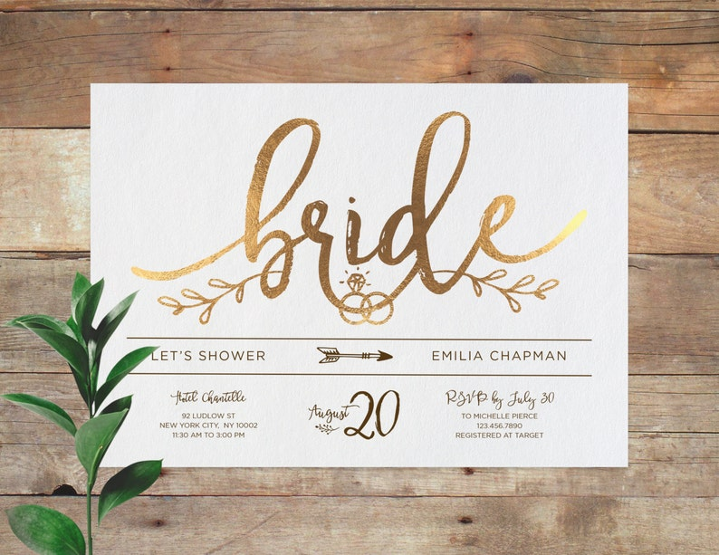 photograph about Printable Bridal Shower Invites identify Emilia - Bridal Printable Bridal Shower Invitation, Shower Invite, Marriage ceremony Shower Invitation, Calligraphy, Gold. At present accessible within Rose Gold!