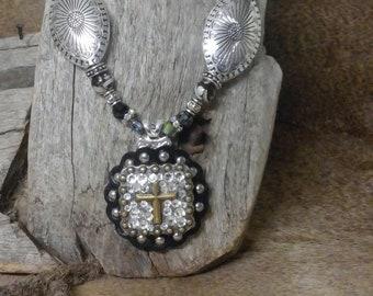 Concho Cross Swarvoski Crystals