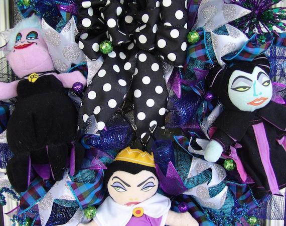 Wall home Yarp Prop Decor Maleficent Disney Villains Halloween Deco Mesh Front Door Wreath Porch Patio Decoration Ursula Evil Queen