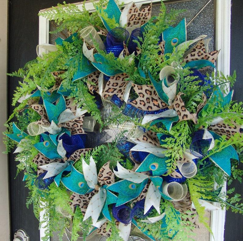Unique Gift Idea XL 30 Peacock Animal Print Deco Mesh Front Door Wreath Welcome Porch Patio Wall Fireplace Mantel Jungle Tropical Decor
