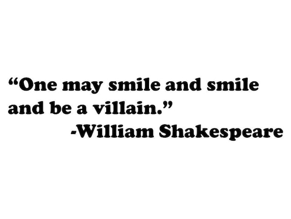 One May Smile And Smile And Be A Villain William Shakespeare Etsy