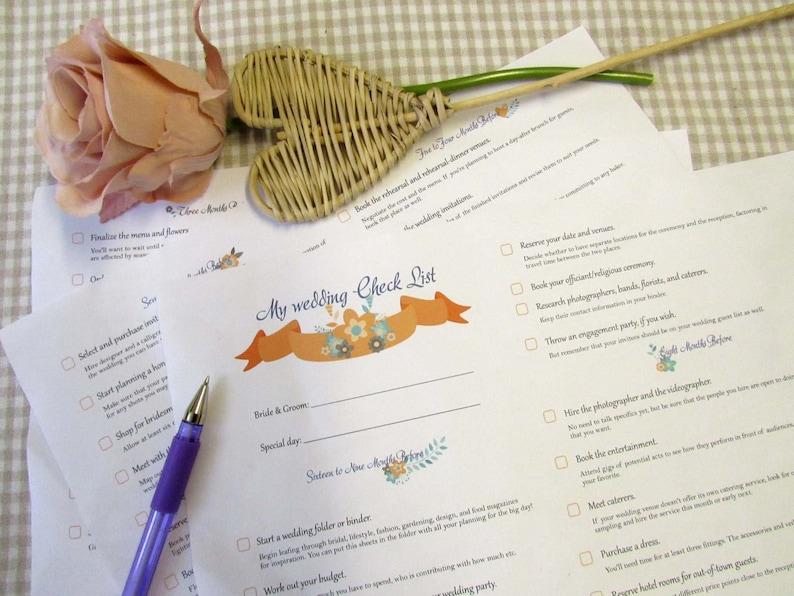 Printable Wedding Checklist, Wedding planner, Wedding list