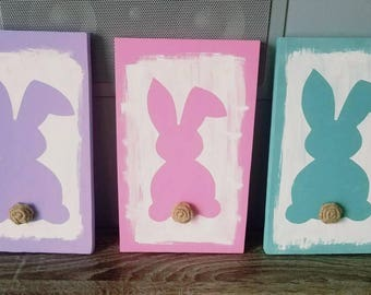 Rustic Easter Decor / Rustic Bunny / Bunny wood decor / Easter Decor / Bunny Tail / Rustic Spring Decor / cute bunny