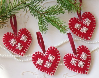 Red Felted Hearts Valentines Tree Decorations Valentines Day Etsy