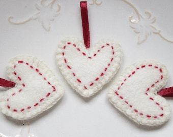 Traditional Rustic Felt Valentines Day Decoration Valentines Etsy