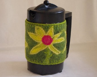 Green Felted French press cozy with sunflower, Felted French Press Coffee Pot Warmer, felted coffee pot cozy , wool coffee pot cozy