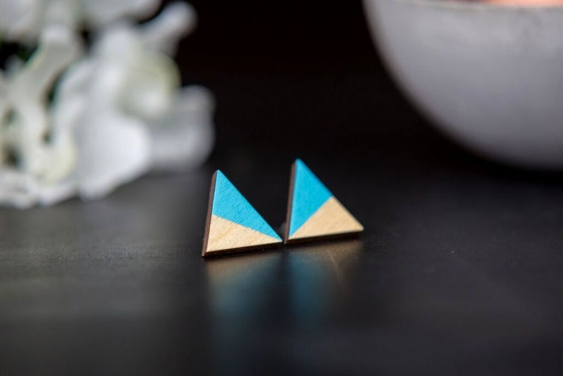 Geometric earrings wooden triangle turquoise Blue