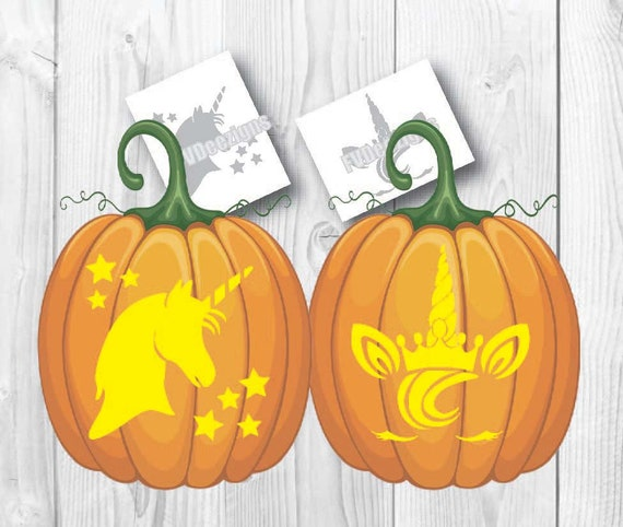 Unicorn Halloween Pumpkin Pattern Carving Instant Download