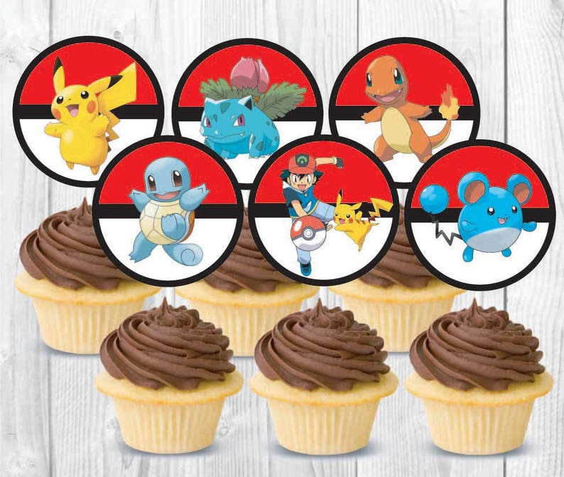 picture about Pokemon Cupcake Toppers Printable referred to as Pokemon Cupcake Toppers, Printable, Instantaneous Down load, Birthday Celebration