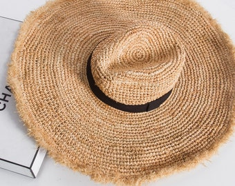4669547f Extra Wide Brim Crocheted Straw Packable Travel Hat Beach hat, straw hat,  sunhat.