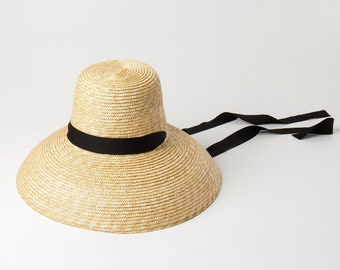 cd86d092ca4864 High flat top with large brim with binding straw hat fashion concave shape  sun - resistant beach straw hat