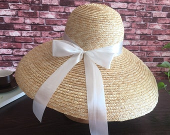 17424cb4b80 French retro summer sun hat holiday beach black big bell hat.Women s summer  straw hat-Straw Hat -sun hat