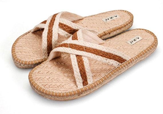 Summer slippers line desert hemp slippers sandals man a word procrastinates cool slippers fashion flat at home