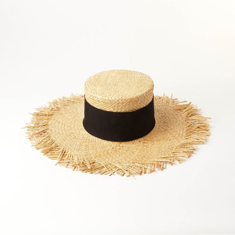 34d0c92cd Hand braided raffia fringed ring flat top straw hat sun protection beach  raffia straw hat