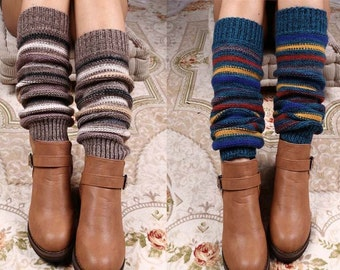 Alpine Thigh High Slouch Sock - WINE thick cable knit socks w/ fold over cuff and tassel tie - boot sock leg warmer