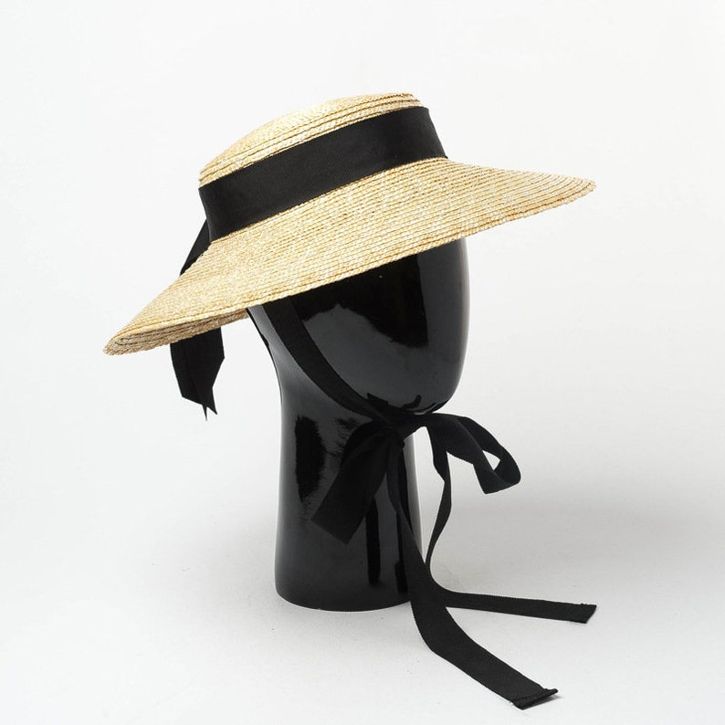 1950s Women's Hat Styles & History Retro shallow bowknot ribbon straw straw hat with large brim walk show concave shape shade straw hat with large brim $49.00 AT vintagedancer.com