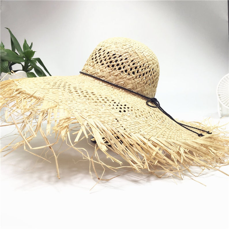 700d01b75c6931 Raffey straw hat women go on holiday beach sun hat hollow sun | Etsy
