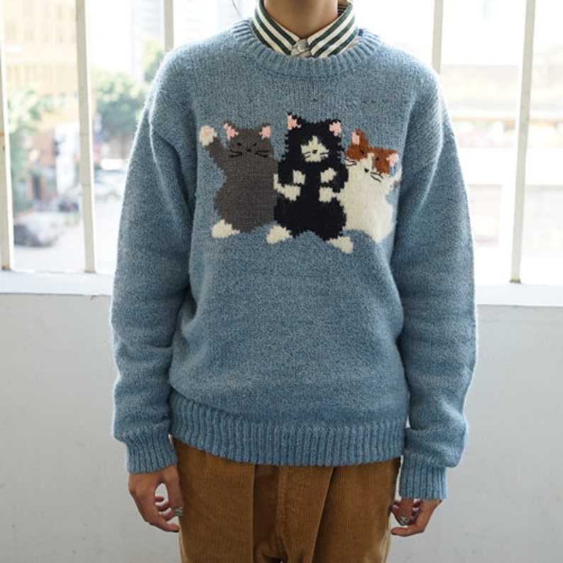 b79990feda8a77 Knitting sweater pure hand knits cute sweater lovely cat