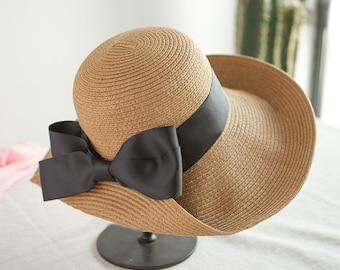 Ruffled bow-tie straw hat summer hat, hat, hat, hat, hat, hat, hat.