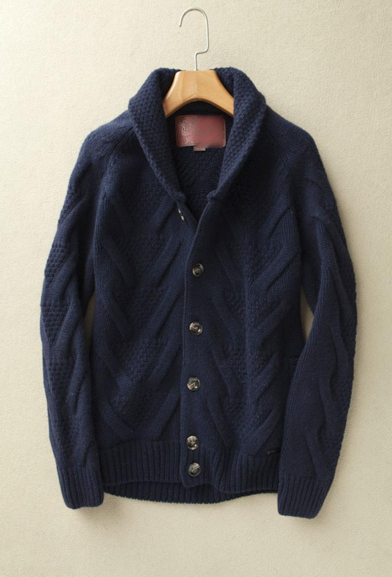 Knitting sweater Men sweaterwool blended half high collar cardigan ... be34a24329f8