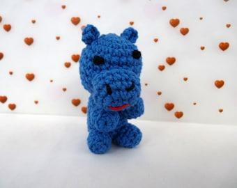 Keychain Blue Hippo, amigurumi crochet (7 cm)