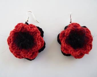 Crocheted red poppy Flower Earrings