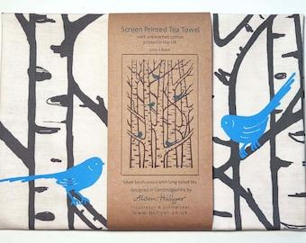 Tea Towel - Silver Birch Trees & Birds screen-printed (blue)