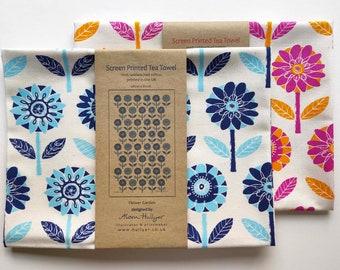 Tea Towel - Flower Garden (blue or pink)