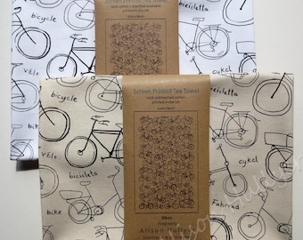 Bikes - screen-printed tea towel (cream or white)