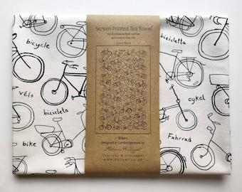 Tea towel - Bikes - screen-printed (cream or white cotton)